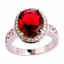 Original Round Cut Ruby Spinel Gemstones Silver Ring Size 7 8 9 10 Free Shipping