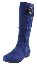 New women's shoes boots knee high suede like side zipper causal royal blue