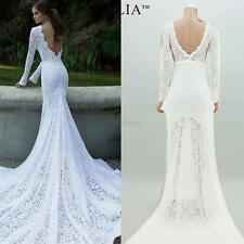 New Sexy Wedding Dress Evening Formal Bridal Gown Lace Long Floor length Dress