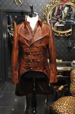 Mens antique military leather tailcoat & waistcoat costume jacket bespoke sizes
