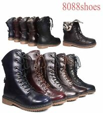 Foldable Lace Up Round Toe  Combat Mid Calf Boots Women's shoes Size 5.5 -10 NEW
