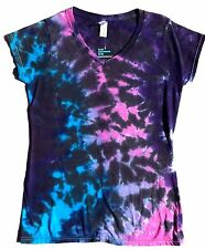 "Tie Dye ""Pink Black Space"" Ladies Fitted  V Neck T Shirt,Small-XXL, Tye, Womens"
