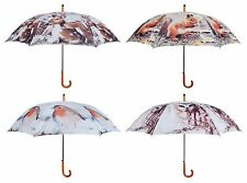 Large Umbrella with Winter Nature Print.Owl, Stag, Squirrel, Robin. 120cm wide