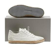 NEW!!! $395  CLONE WOMANS WHITE WOVEN LEATHER LOW TOP SNEAKER