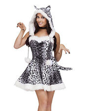 Adult Sexy Womens Catsuit White Cat Snow Leopard Adult Halloween Costume