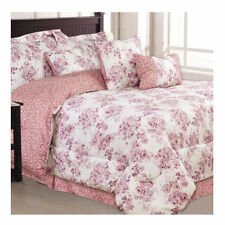 NEW Bed Bag King Queen Full Twin 7 pc Rose Pink Floral Comforter Deco Pillow Set