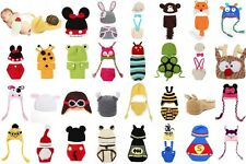 Newborn Baby Hat Handmade Crochet Animal Knit Beanie Photo Photography Props Set