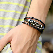 Cool Unisex Men Women Metal Studded Surfer Leather Bracelet Wristband Fashion