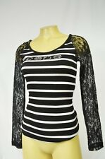 BEBE t shirt logo lace sleeve 240824 black white