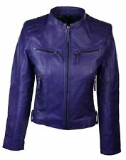 Ladies Women Real Leather Short Slim Fit Purple Retro Chinese Colla Biker Jacket