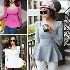 Fashion Womens Casual Waist Peplum Long Sleeve Slim Shirt T-shirt Blouse Tops
