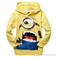 KIDS MINION YELLOW HOODIE BOYS GIRLS DESPICABLE ME CLOTHING JUMPER SIZE 2-8 UK