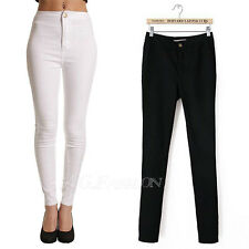 Fashion Ladies High Waisted Stretch Pencil Jeans Pants Casual Skinny Trouser