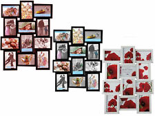 MULTI PHOTO PICTURE FRAME HOLDS 12 PHOTOS APERTURE MULTI COLLAGE BROWN WHITE