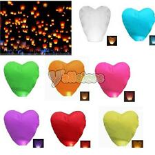 5Pcs Heart-shaped Chinese Flying Sky Lanterns Wishing Lamp for Wedding Colors US