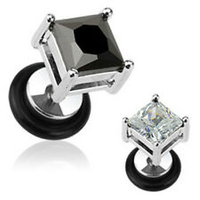 Pair Steel Prong Set Square Dia Cut CZ Fake Cheater Plugs Gauges Earrings