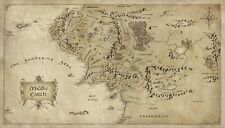 Map of Middle Earth Lord Of The Ring Fabric Art Cloth Poster 43x24