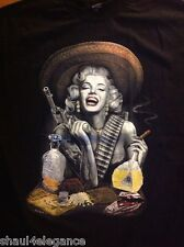 Marilyn Monroe Wanted Adelita Tequila & Gold 100% Cotton Shirt Black New Style