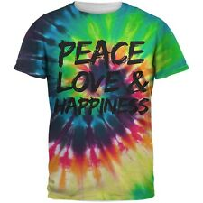 Peace Love & Happiness Tie Dye Sublimated Adult T-Shirt
