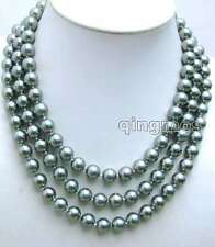 """SALE BIg 10mm Silver Gray Round Shell Pearl 3 strand 17-19"""" NECKLACE-nec5841"""