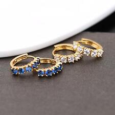 18 K Gold Plated Earrings for Girls Women Lady Clear Zircons Hoops Jewelry Set