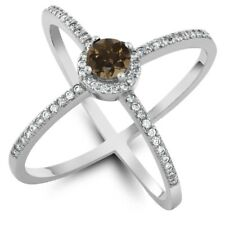1.28 Ct Round Brown Smoky Quartz 925 Sterling Silver Ring