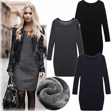 Women Long Sleeve Pullover Jumper Sweater Tops Sweater Velvet Winter Dress New