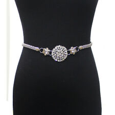 Women Full Metal Chain Waist Hip Belt Stretch Flower Rhinestone Wedding Dress