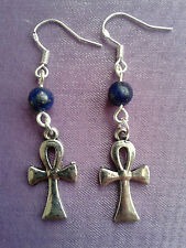 ANKH CROSS KEY OF LIFE STERLING SILVER EARRINGS + CHOICE OF 12 CHAKRA CRYSTALS!