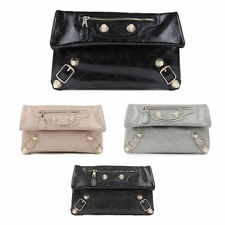NWT Women Oversized Golden Studs Giant Motor Clutch Purse Evening Bags Style-B