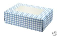 BLUE GINGHAM CUPCAKE MUFFIN BOX HOLDS 6 CAKES MATCHING CUPCAKE CASES AVAILABLE