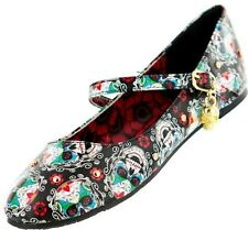 IRON FIST SUGAR HIGH FLOWER SKELETON SKULL GOTHIC FLATS SHOES WOMENS SIZE 7-10