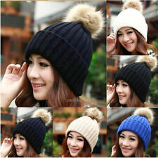 NOBLE WOMENS SLOUCH KNIT FUR CAP WINTER WARM CUFFED BEANIE CROCHET SKI POM HAT