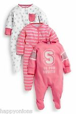 Next Girls Set 3 NB Pink S Is For Sweetie Sleepsuits Babygrows