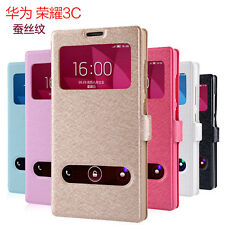 Hot PU Leather Window-View Smart Flip Protective Case Cover For Huawei Honor 3C