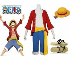 One Piece Straw Hat Monkey D.Luffy Cosplay Costume Vest+Trousers Outfit Pants