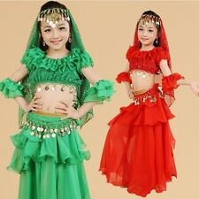Kids Girls Belly Dance Costume Outfit Top Skirt Bollywood Halloween Indian 2 PCS