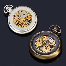 Mens Skeleton Mechanical Pocket Watch Hand Winding Copper Silver With Case Watch