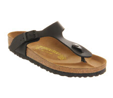 Womens Birkenstock Toe Thong Footbed Black Sandals