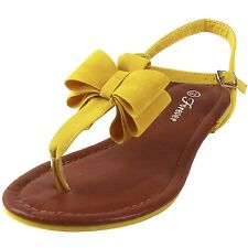 New women's shoes sandal flat suede like t strap bow summer causal yellow