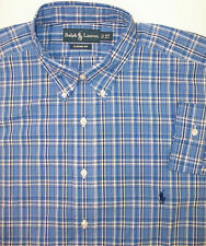 Polo Ralph Lauren Classic Fit LS Button Down Plaid Shirt Blue Navy $95  Pony NWT