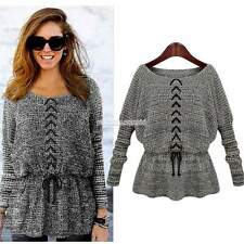 New Women Casual Round Neck Long Sleeve Sweater Loose Batwing Pullover Crochet