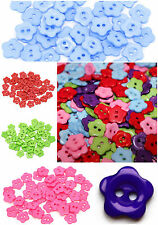 Flower Buttons 2 Holes For Sewing Card Making Craft Choice Colours 14mm