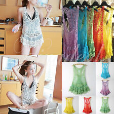 Hot Women Sheer Embroidery Floral Hollow Lace Crochet Tank Vest Shirt Top Blouse