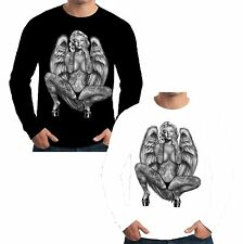 New Mens Long Sleeve T Shirt Marilyn Monroe Angel Tattoo Pop Art Pin Up W16345