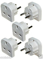 (Oc3) 5 x UK TO EUROPE ELECTRICAL TRAVEL ADAPTER PLUGS 3 PIN to 2 PIN