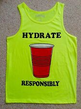 $20 neon-yellow HYDRATE RESPONSIBLY TANK TOP Medium/Large M,L Red-Solo-Cup Party