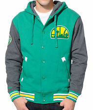 mens L mitchell & ness seattle super sonics 2nd quarter hooded varsity jacket