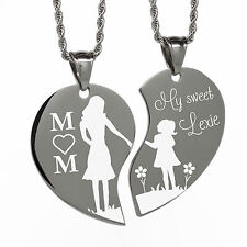Engravable Split Heart Necklace Mom and Daughter Free Engraving