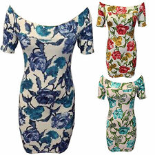 LADIES WOMEN FLOWER FLORAL PRINT OFF SHOULDER BOOBTUBE BODYCON SEXY MINI DRESS